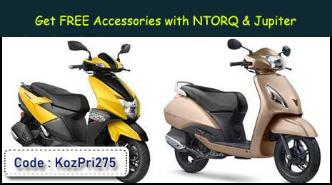Get Free Accessories with TVS NTORQ & JUPITER